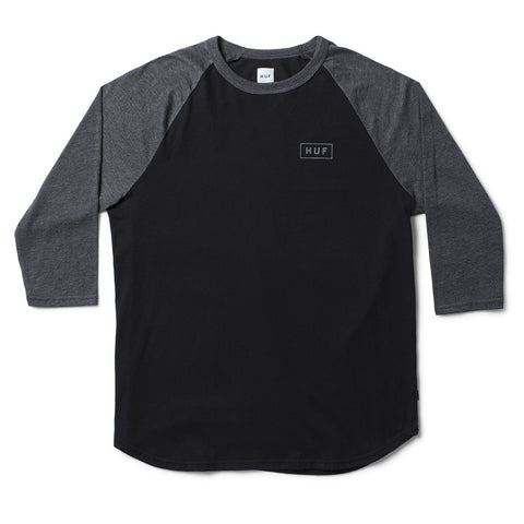 Huf Reflective Bar Logo 3/4 Raglan Tee (Black/Black Heather)