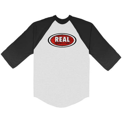 Real World Oval Raglan 3/4 Tee (Black/White)