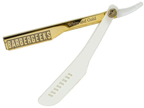 Barber Geeks Straight Razor- White & Gold Edition