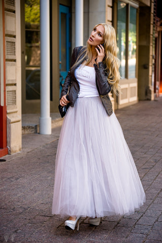 Grey long soft tulle skirt on elastic waistband