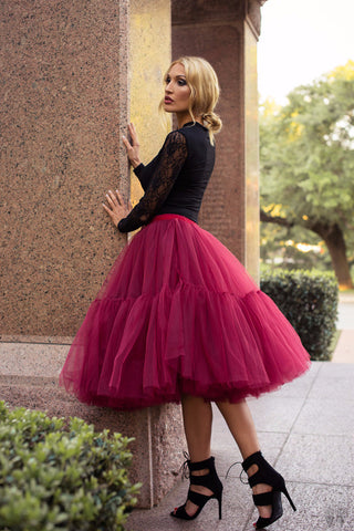 Marsala midi soft tulle skirt on elastic waistband