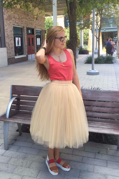 Beige midi soft tulle skirt on elastic waistband