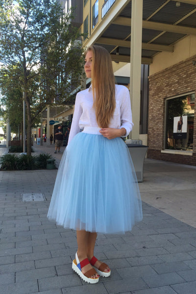 Sky Blue midi soft tulle skirt on elastic waistband