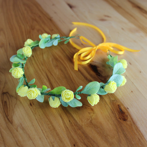 Bright yellow roses head wreath
