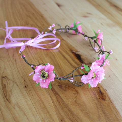 Wicker pink anemon floral head crown