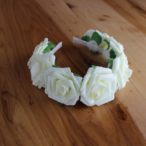 White full roses and greens headband