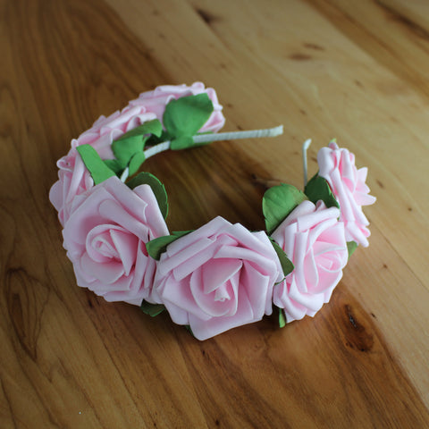 Pink full roses and greens headband
