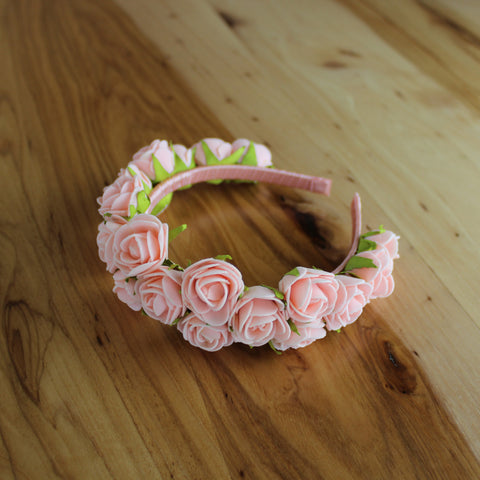 Light coral roses with leaves headband