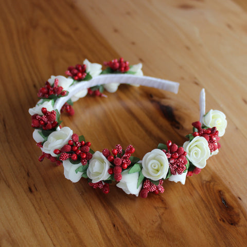 White roses and red berries headband