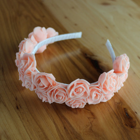 Light coral roses floral headband