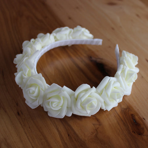 White full roses headband