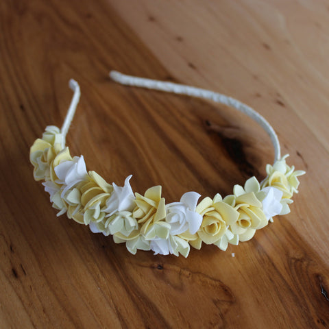 Yellow roses floral headband