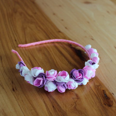 Pink purple floral headband