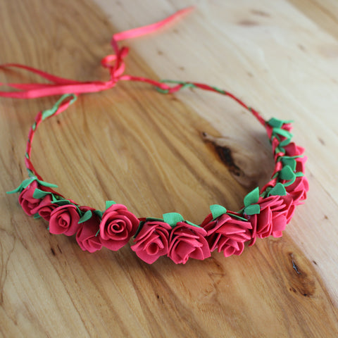 Red roses floral head crown