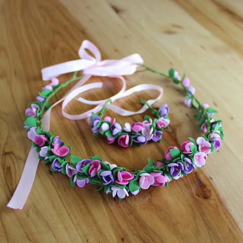 Purple pink set: head wreath and bracelet