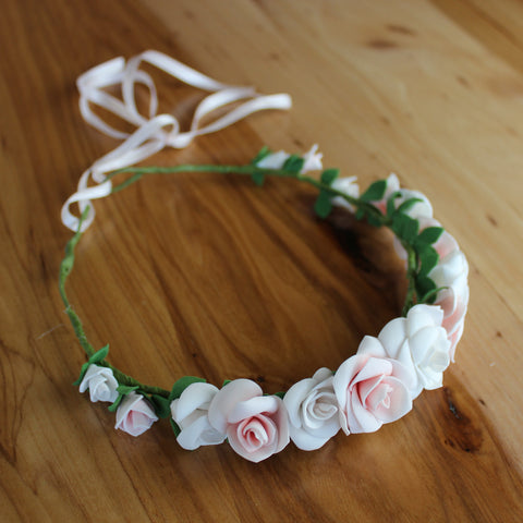 Pink and white roses floral head crown