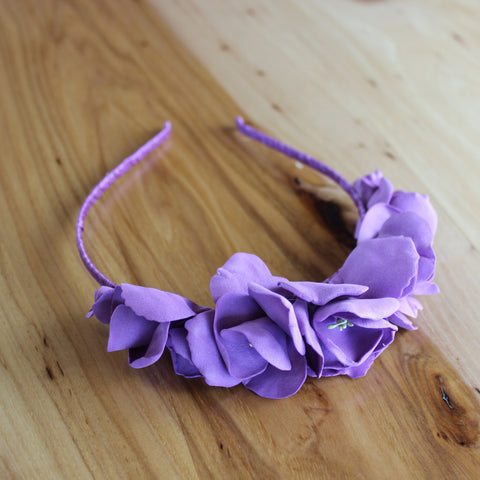 Purple eustoma flower headband