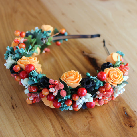 Orange red floral headband