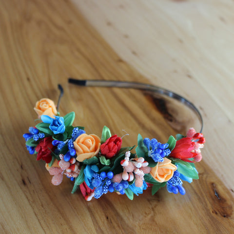 Blue and orange floral headband
