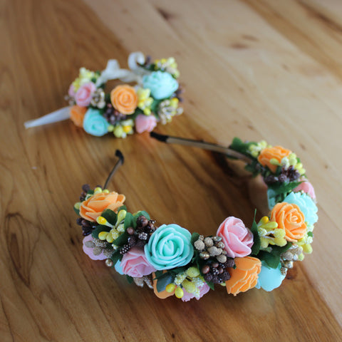 Mint and orange set: headband + bracelet