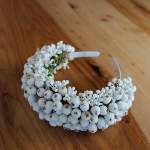 Bridal berries white headband