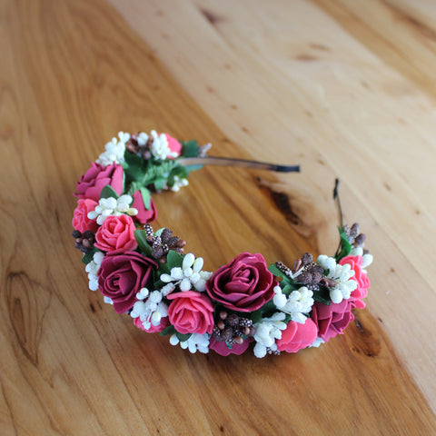 Red roses white flower headband