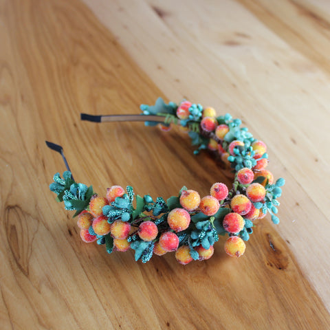 Orange berries headband