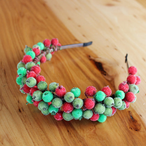 Red and green berries headband