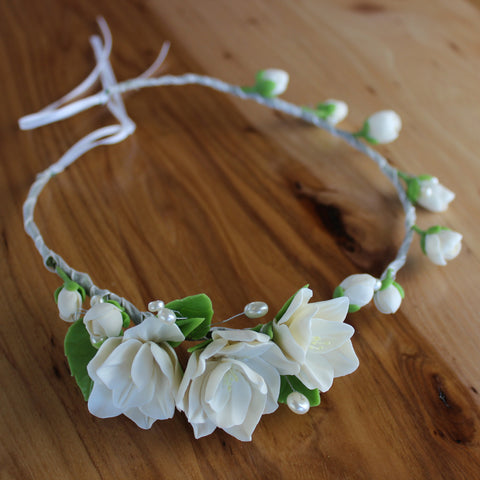 White floral head crown