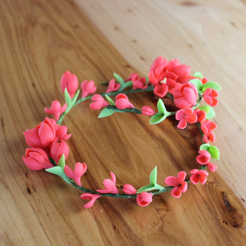 Long flexible red flowers sprig