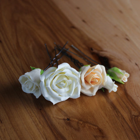 Peach and milk roses 5 hairpins