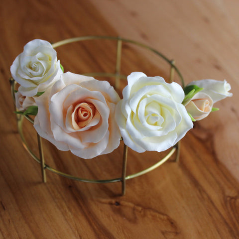 Peach and milk roses 6 hairpins
