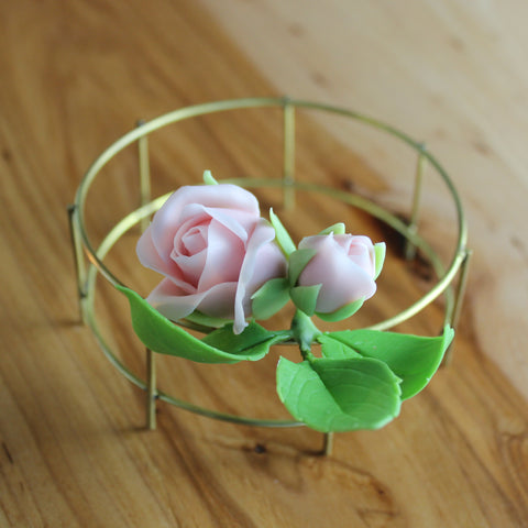 2 roses with leaves floral hair sprig