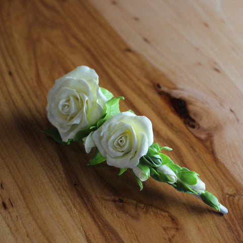 Milk roses flowers alligator hair clip