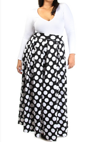 Plus Size Polka dot Maxi Skirt