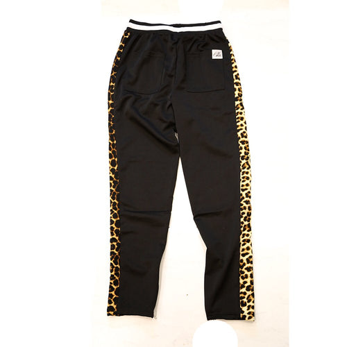 Leopard track pants in black