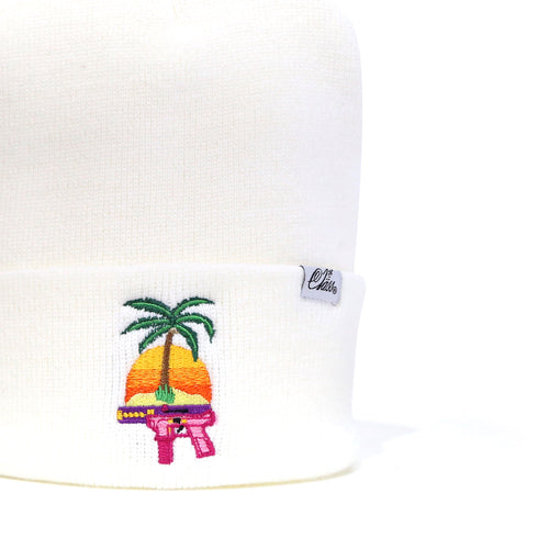 Summertime Shootout Beanie in White
