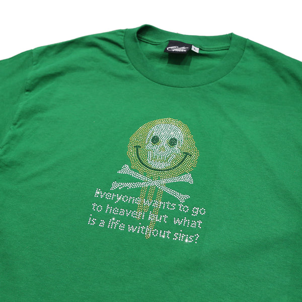 Smile at Death Rhinestone Shirt in Green