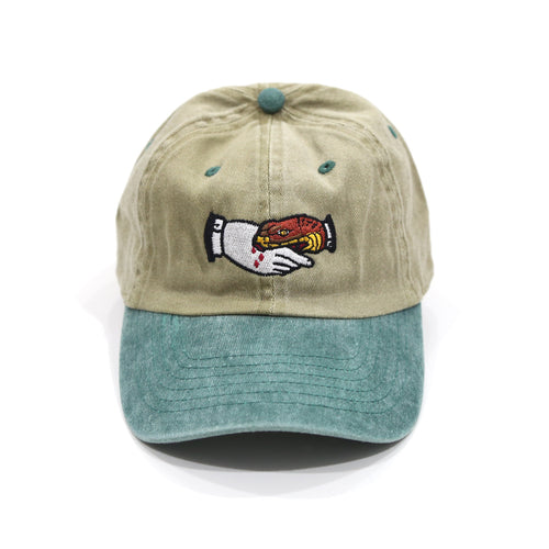 Trust No1 Dad Cap in Tan/Green