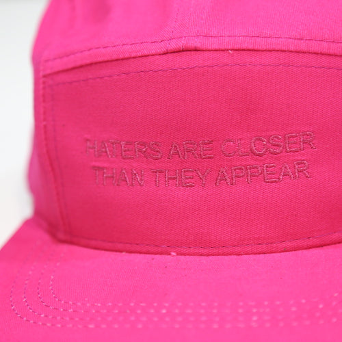 Haters are closer Camp Cap in Pink