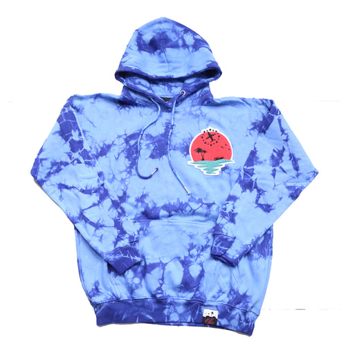 Sunset Life Hoody In Tie Dye Blue