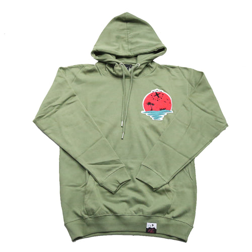 Sunset Life Hoody In Olive