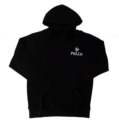 Pollo White logo Hoody in Black