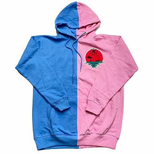 Sunset Split Hoody In Sky Blue/Pink