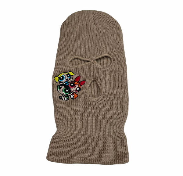 power puff ski mask in tan