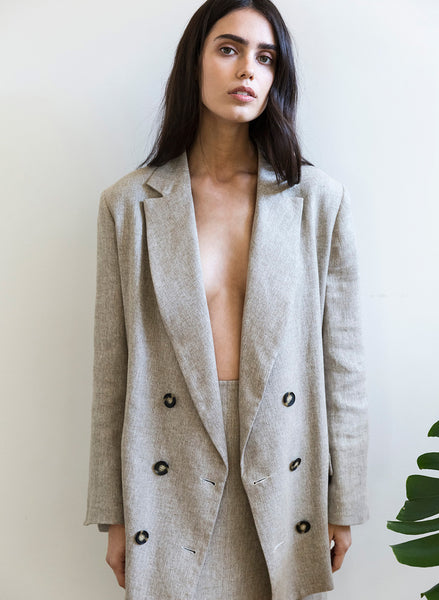 Relaxed blazer - natural tweed