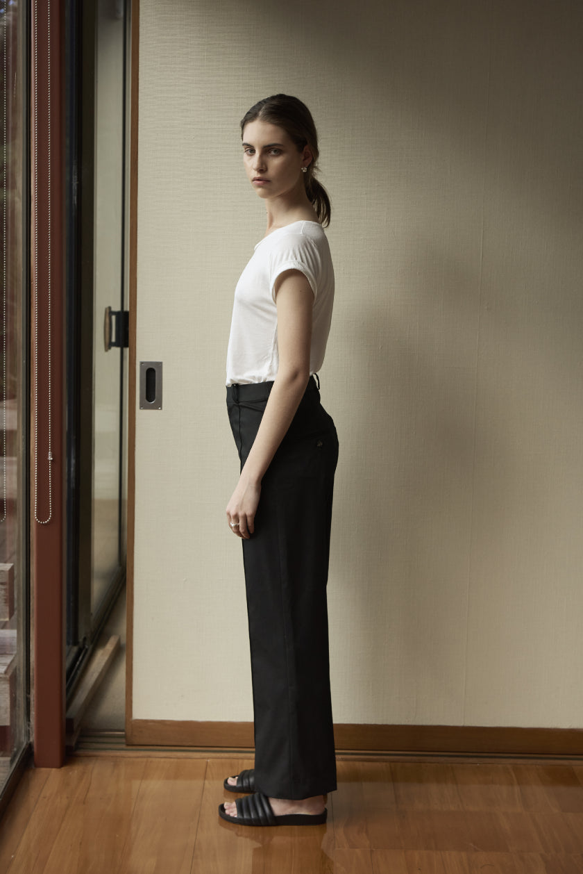 Crop Trouser - Cotton Drill | Black