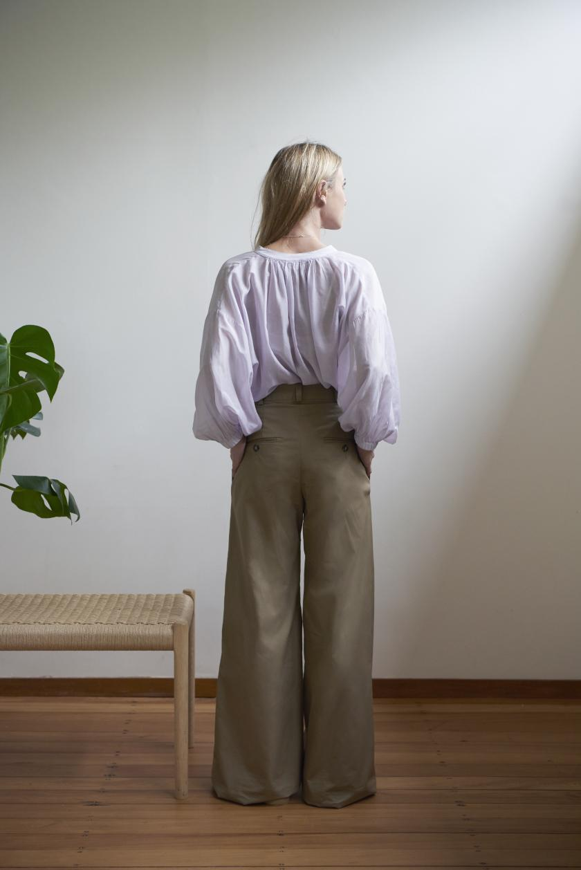 Wide Leg Trouser - Cotton Chino | Khaki