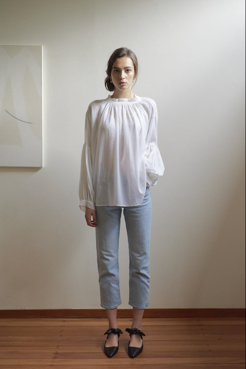 Long Preacher Top - Cotton Muslin | Ivory