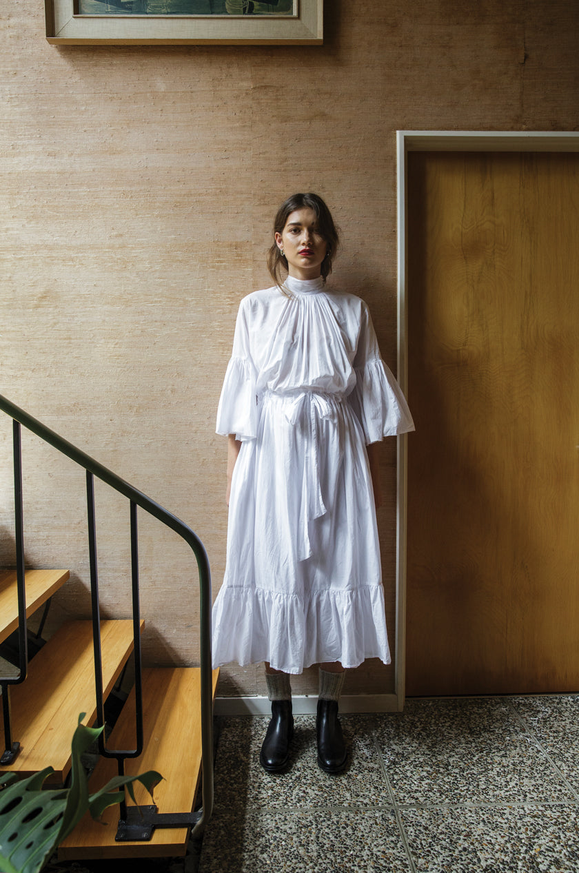 O'Keeffe Dress - Cotton Voile | White